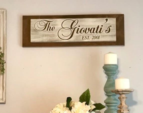 Wall Hanging Sign with Family Last Name Custom Gift for Christmas for a Family Gift Sister Gift Friend Gift