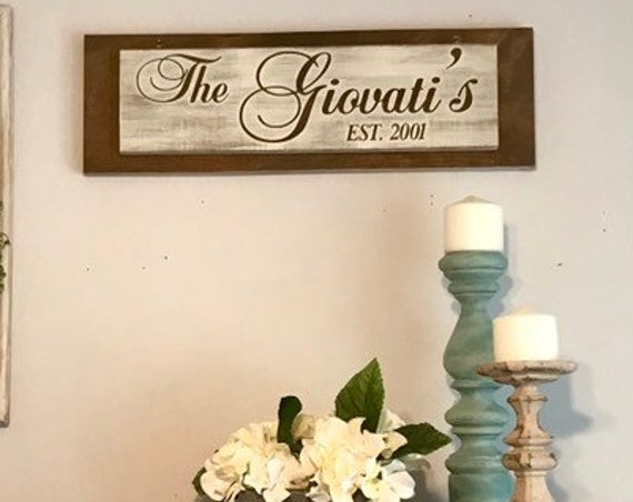 Custom Sign, Custom Wood Sign, Wall Decor Sign, Custom Last Name, Gift For Bride