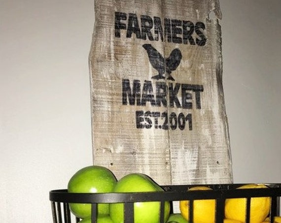 Farmers Market sign, Farmhouse sign, Kitchen Sign, Distressed wood sign, Rustic wood sign, reclaimed wood sign, Market Sign, Custom Sign
