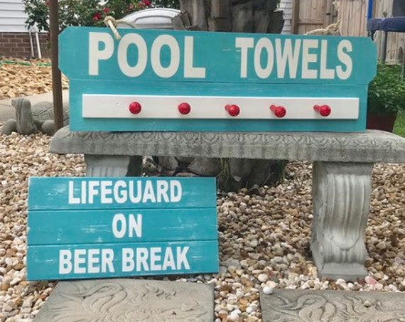 Custom Beach Towel Rack, Pool Sign Set, Coastal Decor Beach Towel Rack, Beach Towel Hooks For Nautical Decor, Beach Theme Sign