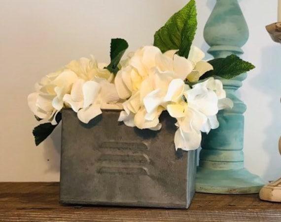 Planter with Hydranges, Hydrangea Flower Arrangement, Rustic Wedding, Mantel Decor