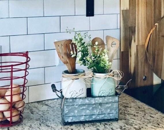 Farmhouse Decor Painted Mason Jar Kitchen Decor for Easy Kitchen Storage in a Metal Tin with Handles