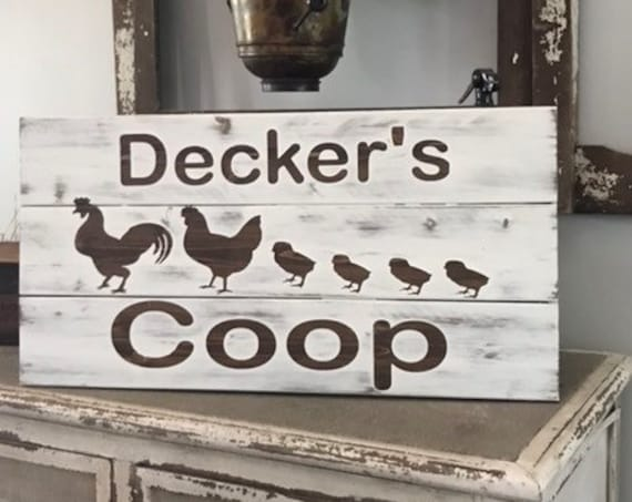 Chicken Wooden Sign, Last Name Sign, Wooden Sign, Rustic Wooden Sign, Custom Wooden Sign, Gift for Mom, New Home Gift