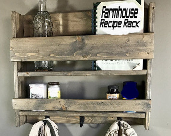 Farmhouse Kitchen Decor, Farmhouse Kitchen Wall, Rustic Kitchen Decor, Primitive Country Kitchen, Spice Rack, Kitchen Shelf, Farmhouse Decor