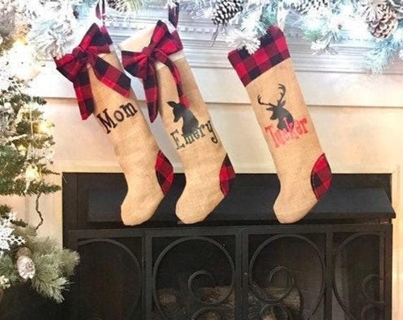 Personalized Christmas Stockings, Pet Christmas Stockings, Paw Christmas Stocking, Deer Stockings, Buffalo Plaid Christmas