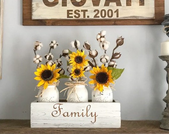 Rustic Wedding Gift Decor with Sunflowers and Cotton Housewarming Gift Personalized with Last Name Sunflower Wedding Decor Farmhouse