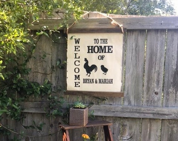 Welcome Home Sign, Chicken Gifts, Personalized, Farm Decor, Chicken Coop Sign