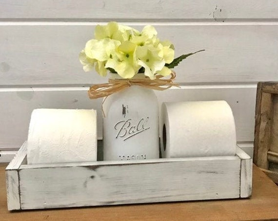 Toilet Paper Tray, With Mason Jar, White Bathroom Decor, Toilet Paper Storage Holder, Wood Tray For Bath Decor, Bathroom Organization