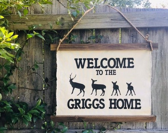 Family Name Sign with Deer Lake House Decor Last Name Sign Personalized Wedding Gift 2nd Anniversary Gift Deer Sign