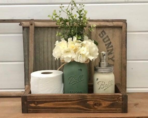 Mason Jar Bathroom Set, With Mason Jar and toilet paper roll,Bathroom Tray,Mason Jar Bathroom Decor,Bathroom Accessories