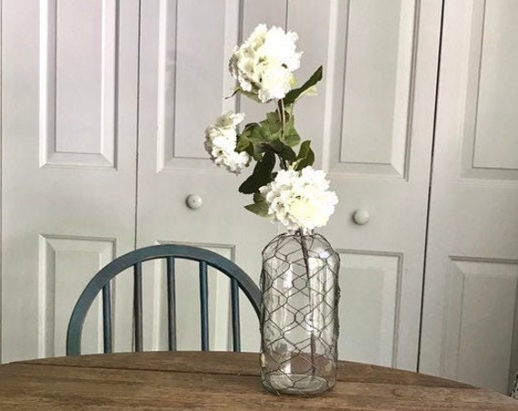 Farmhouse Centerpiece, Kitchen Table Decor, Farmhouse Living Room Decor, Chicken Wire Bottle with Flower Stem, Country Shelf Decor, Gift