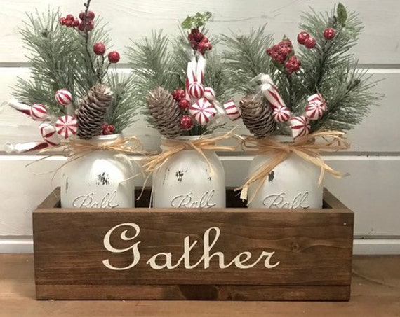 Christmas Decorations Rustic Centerpiece Mason Jars filled with Christmas Pine Farmhouse Christmas Gift Housewarming Gift for Mother