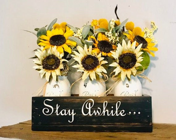 Ready to ship Flower centerpiece in distressed black, modern home decor comes with three painted mason jars with sunflowers, Mothers Day gif