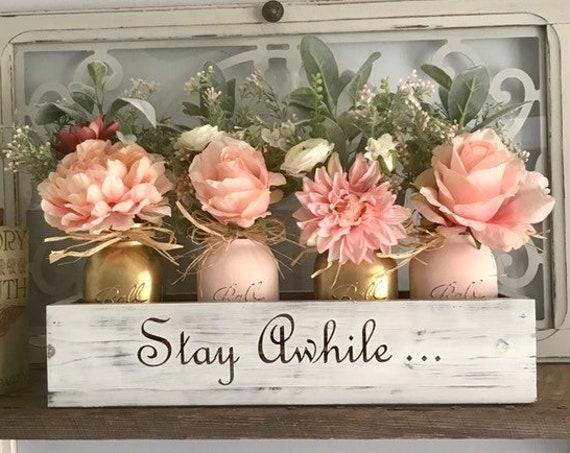 Succulent Planter Centerpiece in Mason Jar Pink and Gold Bedroom Decor Succulents Arrangement Table Decor