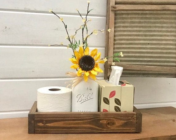Bathroom Decor Storage Wood Tray with Mason Jar Painted and sunflower, Storage for Toilet Paper and Tissue Holder, Farmhouse Bath Decoration