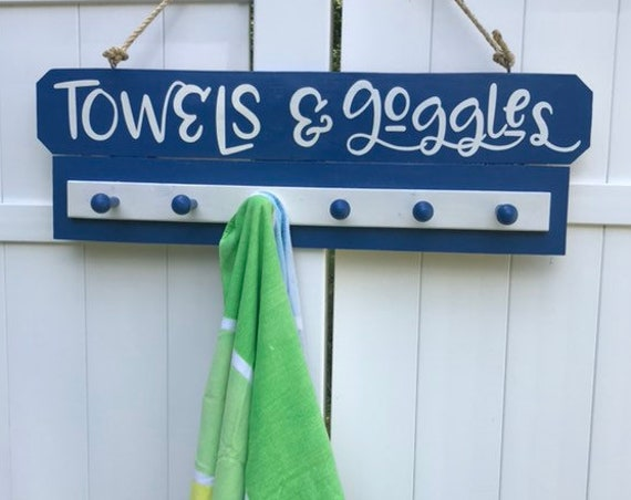 Wood Sign Gift For Fathers Day, Gift For Husband, Towel Rack for Pool, Sons Fathers Day Gift, Son In Law Dads Gift