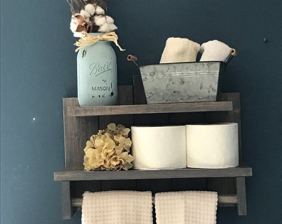 Bathroom Decor, Farmhouse Shelf for Bathroom, Rustic Decors, Rustic Bathroom Storage, Farmhouse Decor