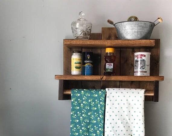 Rustic Home Decor Farmhouse Kitchen Decor Rustic Country Decor Shelving Storage Wood Wall Shelf