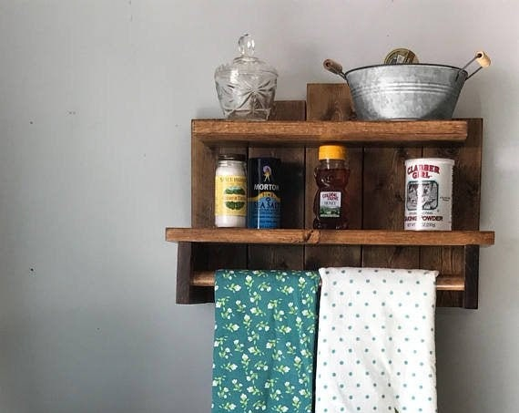 Rustic Home Decor, Farmhouse Kitchen Decor, Rustic Country Decor, Shelving Storage, Wood Wall Shelf