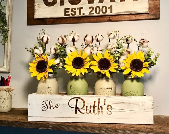 Anniversary Personalized Gift, Gift For Mom, Gift For Parents, Sunflowers Centerpiece