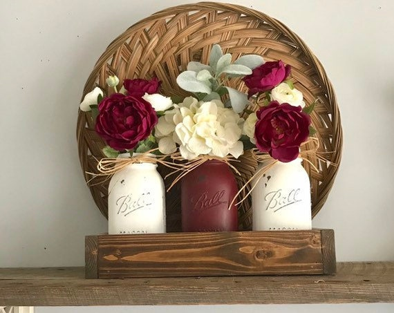 Flower Arrangements Home Decor Living Room Mantle Decor Flower Tray Dining Table Flower Arrangement Gift For Her Silk Flower Centerpiece