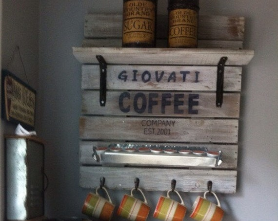 Coffee station, Coffee cup rack, Rustic Coffee Station, Personalized Signs, Coffee Bar Sign, Kitchen Signs