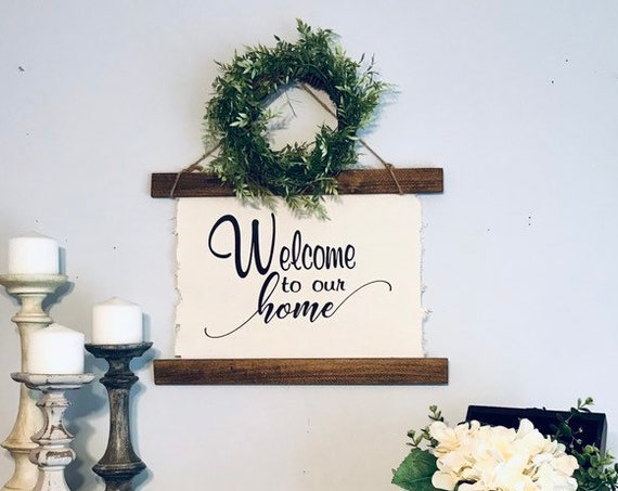 Home Wall Decor Sign Rustic with Wreath / Modern Farmhouse Gift for New Couple / New Home Gift For Mom / Couple Gift For Wedding