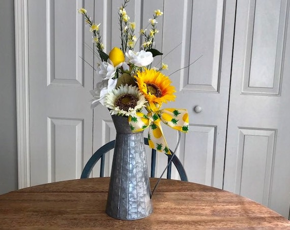 Mothers Day Flowers Gift,Lemon Decor, Flower Arrangement, Centerpiece  Kitchen Table, Lemon Kitchen Decor, Rustic Table Decor