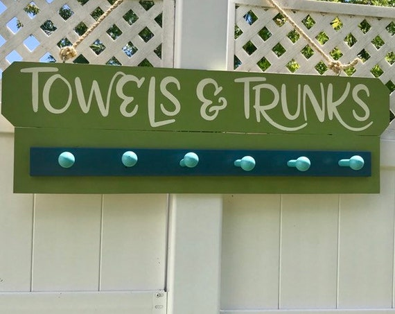 Wood Sign Home Decor, Personalized Fathers Day Gift, Wood Sign Custom, Beach Towel Wood Sign Rack