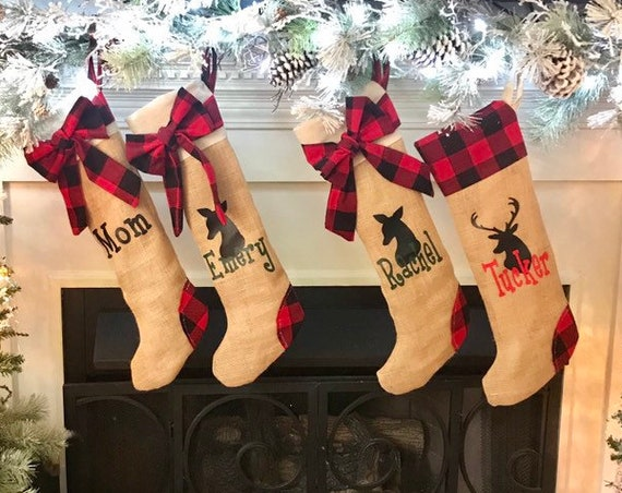 Stocking Set of Four Plaid Christmas Stockings, Four Personalized Stockings, Family Christmas Stocking Set, Christmas Stockings Personalized