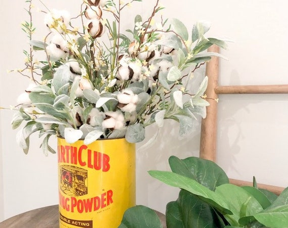 Dining Room Table/Kitchen Table Tin Flower Arrangement Lambs Ear and Cotton Decor