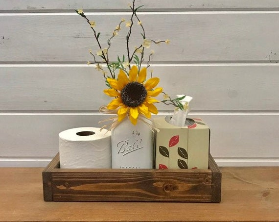 Toilet Paper Storage, Toilet Tank Tray, Toilet Roll Holder, Master Bathroom Decor, Sunflower Decor, Mason Jar Bathroom, Housewarming gift