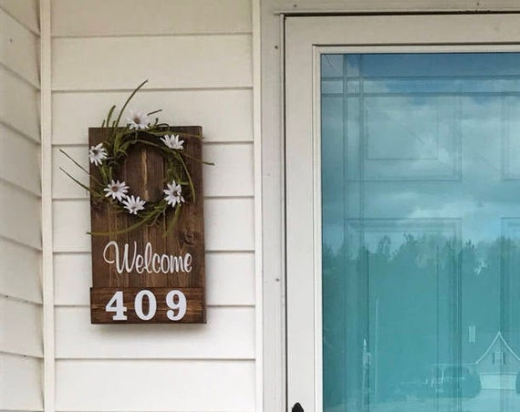Address Numbers, House Numbers, Address Sign, Spring Wreath, Address Plaque, House Number Plaque, Rustic House Numbers, Country Decor