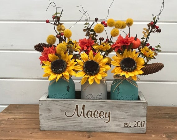 Fall Rustic Coffee Table Decor Centerpiece, Fall Table Centerpiece, Rustic Wedding Gift, Last Name Gift, Rustic Home Decor