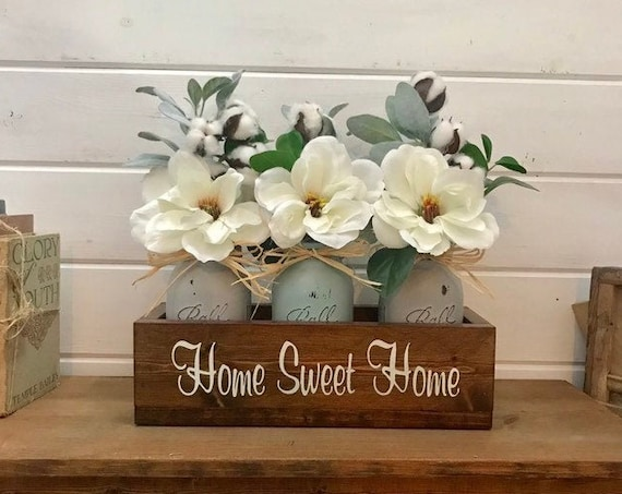 Magnolia Flower Arrangement with Cotton and Lambs Ear, Painted Mason Jars, Wooden Planter Box, Personalized Mothers Day Gift