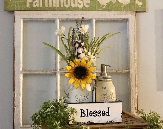 Farmhouse Mason Jar Kitchen Decor with Mason Jar Soap Dispenser Painted Mason Jars with Metal Tray Sunflower lavender