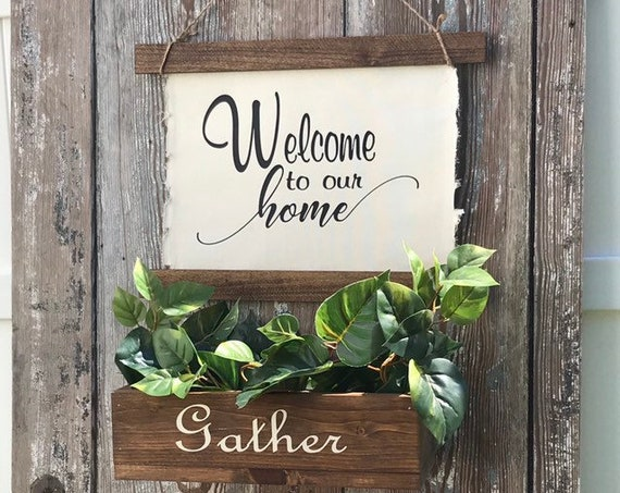 Hanging Planter Gather Rustic Wall Decor Set Welcome To Our Home Sign Personalized Wedding Gift Family Name Established Sign
