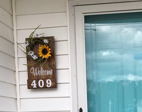 House Numbers Address, Front Door Sign Rustic, Wreath for Front Porch, Farmhouse Welcome Sign