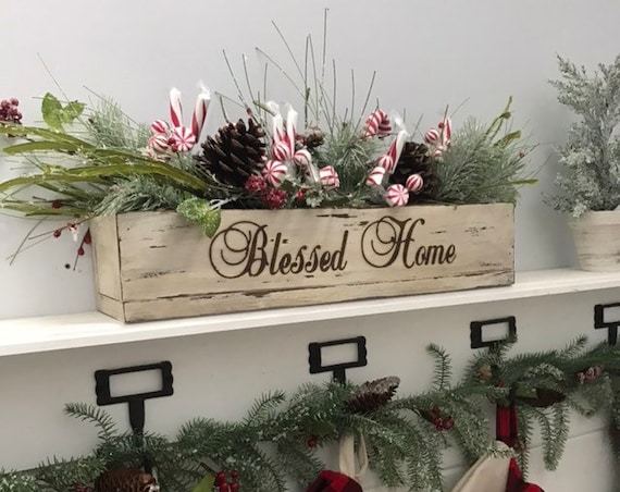 Personalized Christmas Table Centerpiece Wood Box filled with Christmas Decor Floral Arrangement of Pine Personalized Christmas Gift For Mom