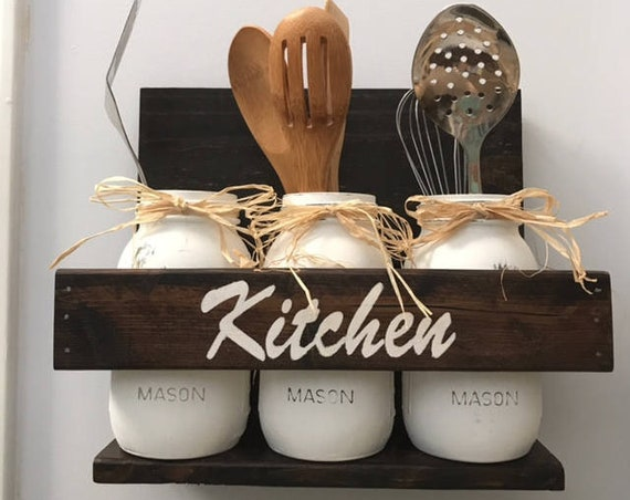 Farmhouse Kitchen Decor Mason Jar Utensil Holder, Kitchen Organization Set For Wall Decor, Kitchen Counter Storage, Housewarming Gift