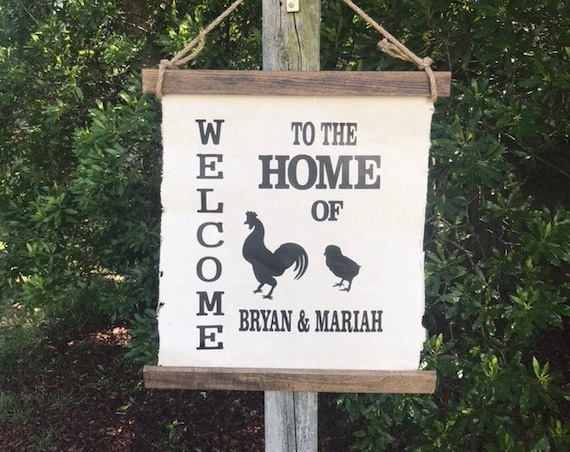 Family Name Sign With Chickens Wall Hanging Home Decor Farmhouse Sign Rustic Wall Decor Farmhouse Livingroom Decor Hanging Sign