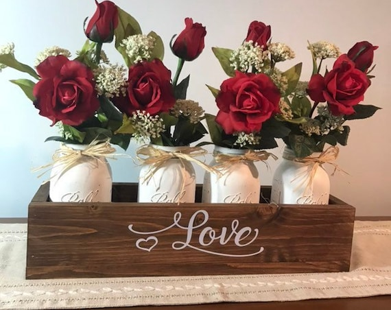 Home Decor Floral Arrangement Roses for Valentines Day Gift for Her, Farmhouse Mason Jar