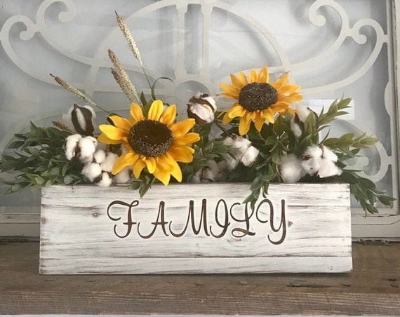 Greenery and Sunflower Decor Rustic Planter box Centerpiece with Cotton stems Personalize Silk Flower Arrangement
