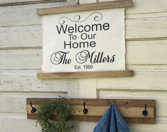 Canvas Sign Coat Rack Entryway Organizer / Welcome Entryway / Front Door Sign / Entryway Welcome Sign / Home Sign / Laundry Room Decor