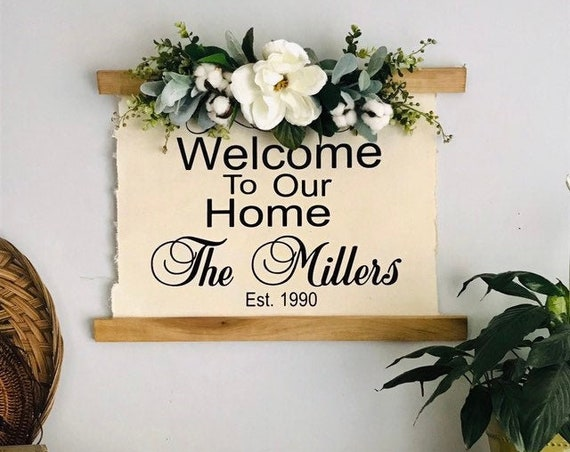 Farmhouse Sign With Last Name, Established Sign, Farmhouse Wall Decor Sign, Rustic Wedding Gift, Last Name Gift, Gift for New Couple
