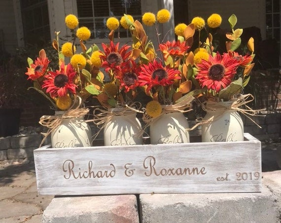 Wood Box with Flowers for Fall Table Centerpiece A Fall Decoration Arrangement, Pick your Mason Jar Color and Wood Box Finish Explore Now