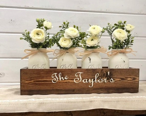 Spring Farmhouse Decor, Planter with Flowers, Personalized Wedding Gift, Mothers Day Gift From Daughter, Host Gift, Nana Gift, Mom Gift