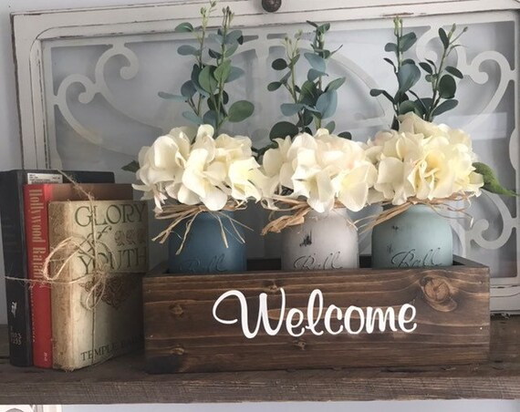 Silk Hydrangea Flowers and Greenery in Painted Mason Jars &  Wood Planter Box Hydrangea Flowers Farmhouse Arrangement Birthday flowers Gift