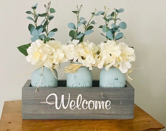 FlowerTable Centerpiece, Mason Jar Decor, Home Decor Mason Jars Wood Box, Personalized Gift, Rustic Wedding, Personalized Anniversary Gift,