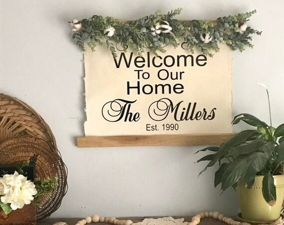 Housewarming Gift New Home, Home Wall Decor Sign with Greenery, Lovely Couple Gift, Personalized Gift For Her, Couple Gift Established Sign